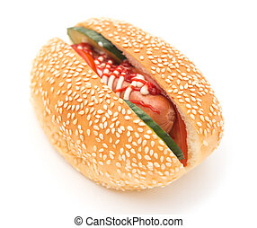 hot dog with cucumber on a white background