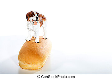 hot dog with dog on top