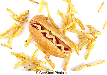 Hot dog with french fries from above on white