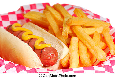 Hot dog with fries