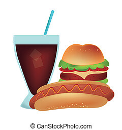 hot dog with hamburger and a drink