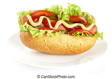 Hot dog with ingredients on plate on white background