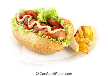 Hot dog with ingredients with french fries on plate on white background