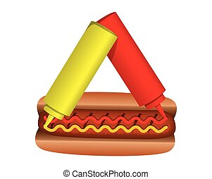 hot dog with ketchup and source
