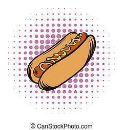 Hot dog with mustard comics icon