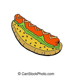 Hot dog with mustard.