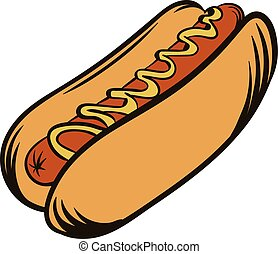 Hot dog with mustard icon cartoon