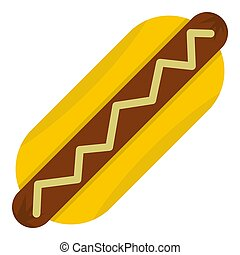 Hot dog with mustard icon isolated