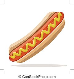 hot dog with mustard, isolated on white background
