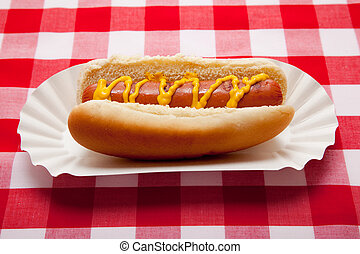 Hot dog with mustard on red plaid table cloth