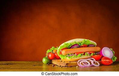 Hot Dog with Vegetables and Copy Space Area