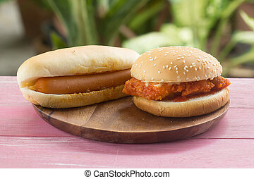 Hot dogs and chickenburgers