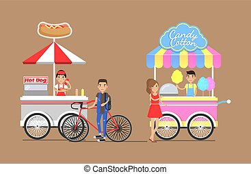 Hot Dogs and Cotton Candy from Street Carts Set