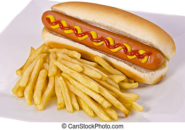 Hot dogs and french fries, isolated on white.