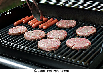 Hot Dogs and Hamburgers on the Grill