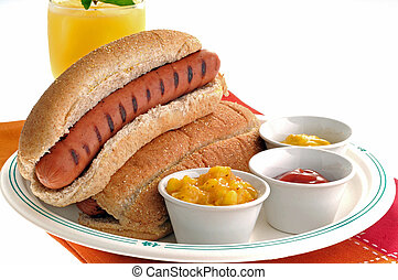 Hot dogs - Delicious grilled hot dogs served with several ...