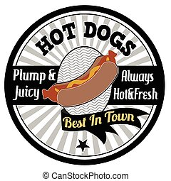 Hot dogs emblem, label or stamp on white background, vector...