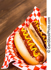 Hot dogs - Grilled hot dogs with mustard and ketchup on the ...