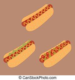 hot dogs - Hot Dog Cartoon Illustration. Vector hotdog with...