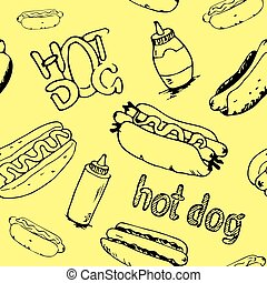 Hot Dogs Seamless Pattern - Hand drawn hot dogs seamless...