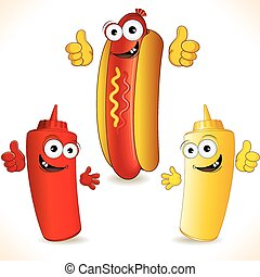 Hot Dogs - Smiling Cartoon Hot Dog with friends