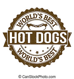 Hot Dogs stamp - Grunge rubber stamp with the word Hot Dogs...