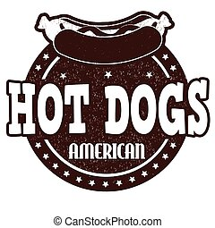 Hot dogs stamp - Hot dogs grunge rubber stamp on white...