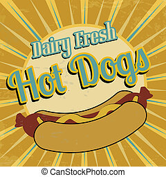Hot Dogs vintage poster