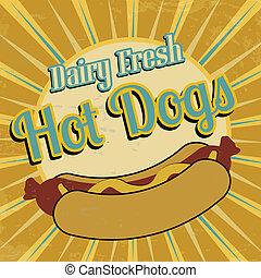 Hot Dogs vintage poster