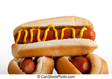 Hot dogs with mustard on a white background