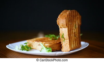 hot double sandwich with lettuce leaves and stuffed in a...