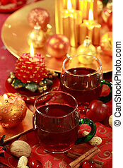 Hot drink for Christmas - Christmas still life with hot ...