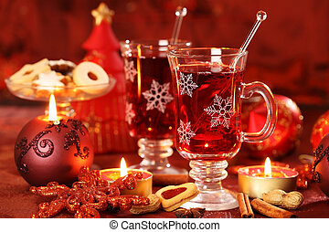 Hot drink for winter and Christmas with delicious cookies