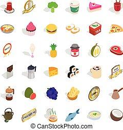 Hot drink icons set, isometric style