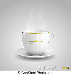 Hot drink - Realistic vector illustration of cup of hot ...