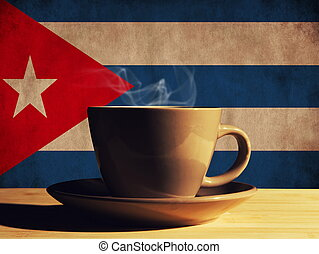 hot drink with Cuba flag
