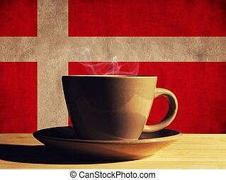 hot drink with Denmark flag