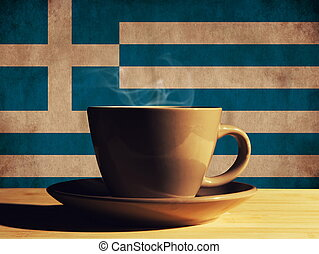 hot drink with Greece flag