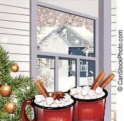 Hot drink with marshmallow red cups. Vector realistic winter designs