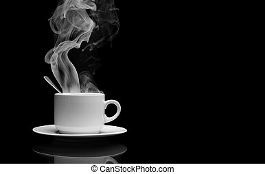 Hot drink with steam - Cup of hot drink with steam over...