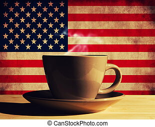 hot drink with USA flag
