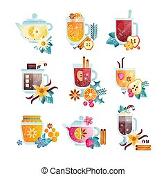 Hot drinks with fruits, berries, spices and herbs set, vitamin healthy drinks in transparent cups and teapots vector Illustrations