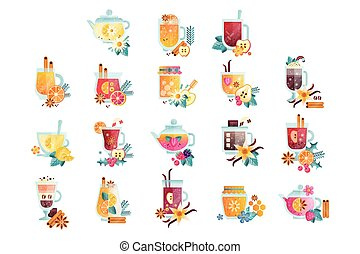 Hot drinks with fruits, berries, spices and herbs set, vitamin healthy drinks vector Illustrations