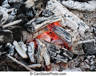 Hot embers of bonfire after barbeque cooking