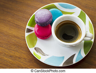 Hot Espresso coffee and macarons