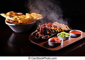 Hot fajita - Original hot fajita served on wood plate