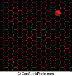 Hot Fibre Background - A black honeycomb with a red head...
