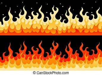 Hot fiery wall of fire flame safety sign border