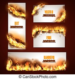 Hot fire banners set