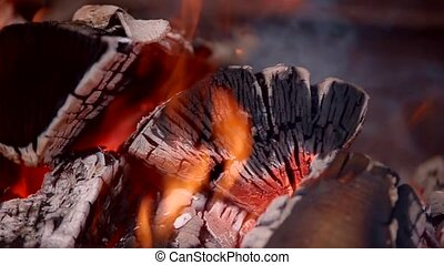 Hot fire wood - Hot fireplace full of wood and fire